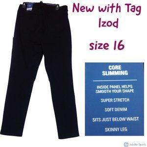 NWT Izod core slimming skinny leg 16